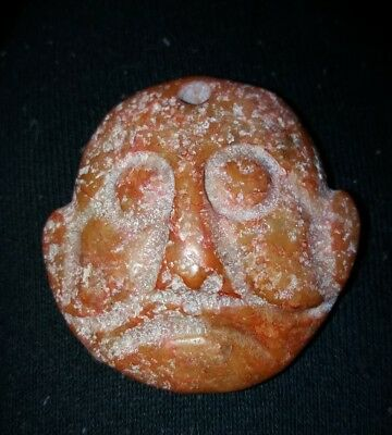 Stunning Hand Carved Stone Face Pendant Amulet Talisman