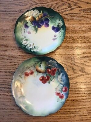 """2~ D&Co FRANCE Limoges HandPainted Fruit 7 1/2"""" plate, initials, dated (19)07"""