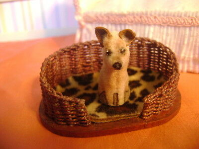 miniature  dollhouse Jack Russel puppy  and dog bed  ~ handmade~