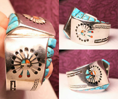 G.MONTANO Zuni Chief Headdress Sunface Turquoise Cuff Bracelet STERLING Old Pawn
