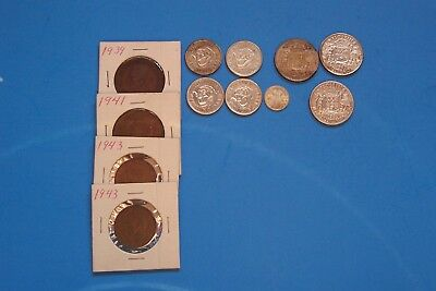 """(12) Coins From Australia(3)Florin  (4)Shilling (1)3 Pence(2)1/2&1 Penny """"read"""""""
