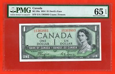 ✪ 1954 $1 Bank of Canada BC-29a Devil Face G/A 1363893  - PMG Gem UNC 65 EPQ