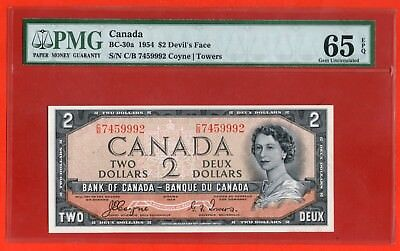 ✪ 1954 $2 Bank of Canada Devil Face BC-30a C/B Prefix - PMG Gem UNC 65 EPQ