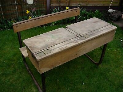 Vintage Child's School Desk Double Bench Seat , Wood Victorian , Antique Retro