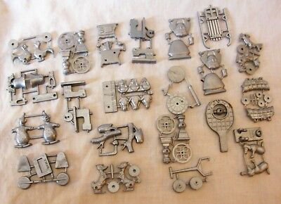 21 Cracker Jack Plastic Prizes Silver Sewing Mach.bell Stove Coffee Duck Toys