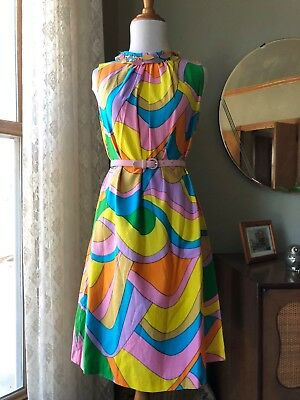 60s Dress Psychedelic Colors Op Art Mod Sleeveless Shift Groovy COLORFUL Vintage