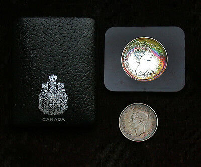1973 Canada Uncertified Colorful Toned Dollar in Case w/ 1941 Half Dollar mb1474