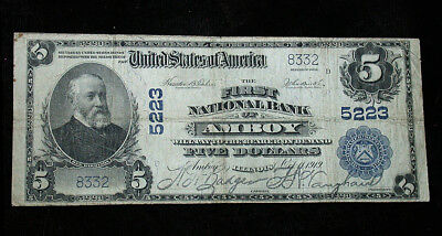 1902 First National Bank of Amboy, IL National Currency $5 Note (rb1786)