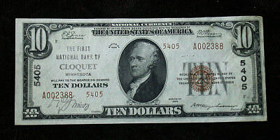 1929 Type 2 First National Bank of Cloquet, MN National Currency $10 Note rb1783