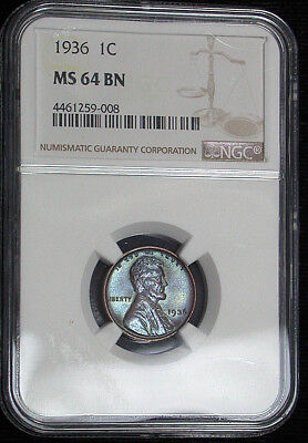 1936 NGC MS64BN Colorful Toned Lincoln Cent (tg1092)