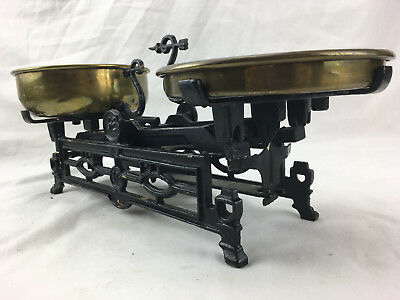 Antique Cast Iron French Kitchen Balance Scale Brass Pans Vintage - See Photos
