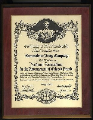 1968 NAACP Commodore Perry life member plaque AFRICAN AMERICAN 8.5x10.5