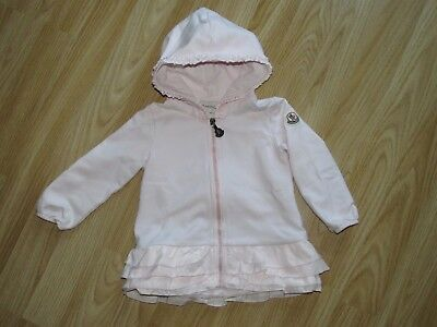 100% Authentic Baby Girl MONCLER Maglia Pink Zip Hooded Cardigan Sz 9-12 M month