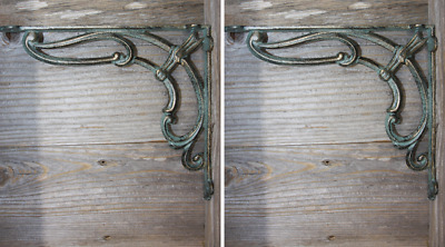 "(2) Art Deco Style Shelf Brackets Heavy Cast Iron Bronze-look finish, 9"", B-39"