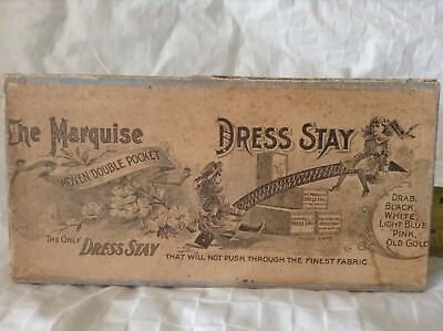 The MARQUISE WOVEN DOUBLE POCKET DRESS STAY Box AND 44 Stays Orig Antique RARE