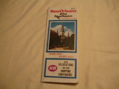 K & B Drug Map Of New Orleans Advertising KB Locations VG+ Condition
