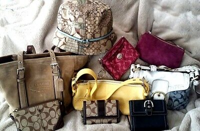 Coach Purse Wallets Wristlets Hat Lot 10 Piece Pre Owned