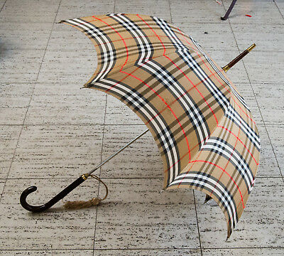 Vintage Burberry Umbrella Made in London w/Dark Wood Walking Cane Curved Handle