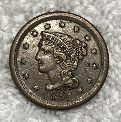 1851 Large Cent Repunched Date Rpd N-20 R.3