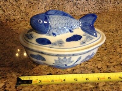 Lucky Chinese Blue & White Porcelain Koi Bowl -- Very Old Vintage!