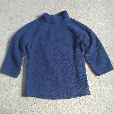 LANDS END Navy Blue Mock Neck Sherpa Fleece Pullover Sweater Kids Boys Girls 5-6