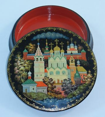 VTG Russian Lawyers Black Lacquered Round Trinket Box City Mstera Artist Signed