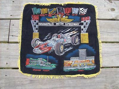 VINTAGE 1960's INDIANAPOLIS 500 PAINTED FELT PILLOW COVER, NOS