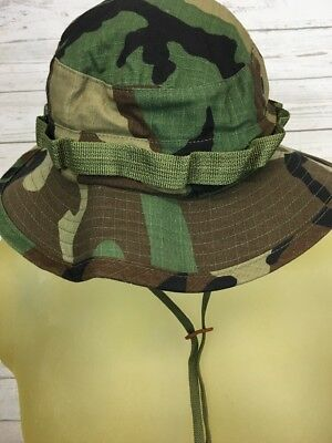VTG Army Military Camo Boonie Hat 7 1/4 Sun Hot Weather MIL-SPEC-H-43577