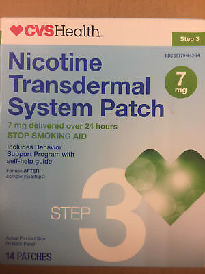 CVS NicoTine Transdermal Patch Step 3 7mg 14 Patches EXP Mar 2018 stop smoking