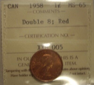 Canada Elizabeth II 1958 Doubled 8 Small Cent - ICCS MS-65 (XXB-005)