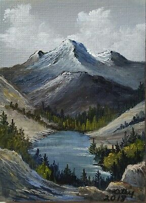Aceo,miniature,acrylic , original, landscape,  Cool Mountain Lake