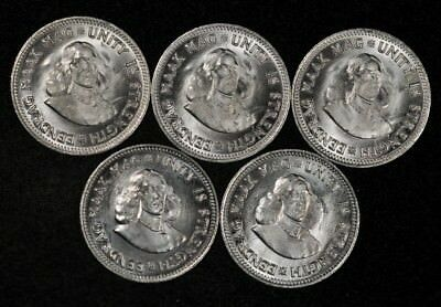 1961 South Africa Lot Of (5) 2 1/2 Cents Lustrous Uncirculated