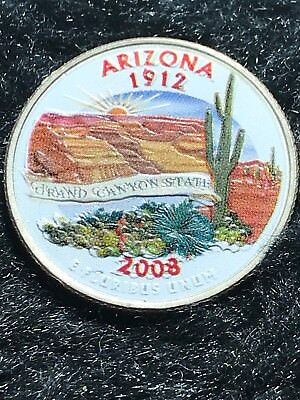 2008-D Arizona US Statehood Quarter Uncirculated Colorized - Nice Piece of Work