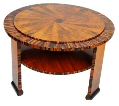 Unusual 1930's French walnut, rosewood and macassar ebony side table