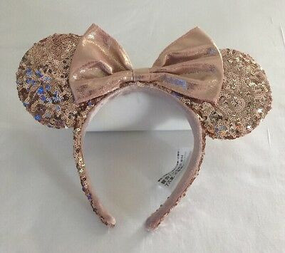 Disney Parks Rose Gold Minnie Mouse Ears Headband Walt Disney World - Nwt