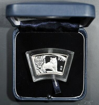 2010 China 10 Yuan Lunar Year Of The Tiger Fan Shape W/ Box & Coa Silver