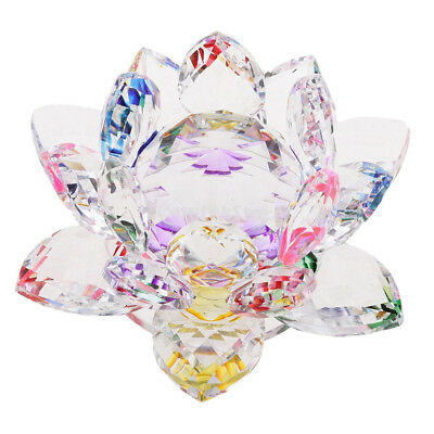 Large Crystal Lotus Flower Ornament with Gift Box, Feng Shui Decor Colorful
