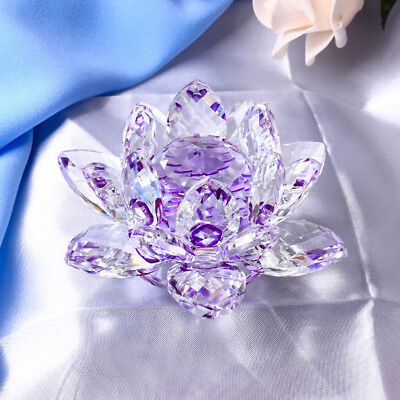 Large Crystal Lotus Flower Ornament with Gift Box, Feng Shui Decor Purple