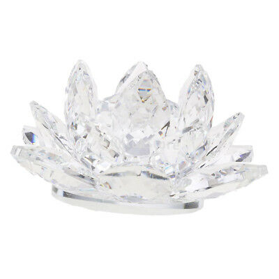 Large Crystal Lotus Flower Ornament with Gift Box, Feng Shui Decor Clear