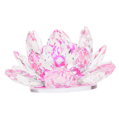 Large Crystal Lotus Flower Ornament with Gift Box, Feng Shui Decor Pink