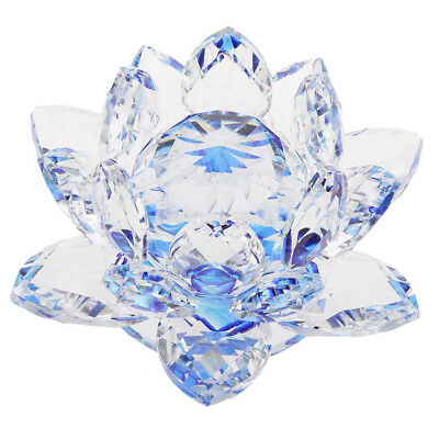 Large Crystal Lotus Flower Ornament with Gift Box, Feng Shui Decor Blue