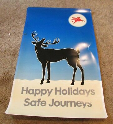Huge Circa 1960's Mobil Gas Station Promo Christmas Outside Sign Blue