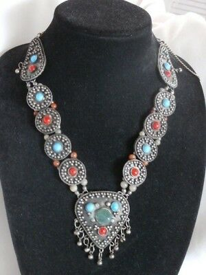 Antique Vintage Ethnic Tribal Sterling & Turqouise Squash Blossom Style Necklace
