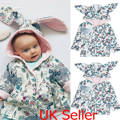 Baby Girls Hooded Coat Jacket Bunny Ear Outfit Long Sleeve Hoodies Clothes 0-18M