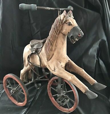Hand Carved Vintage Horse On Metal Tricycle Leather Saddle! Folk Art! Free Ship