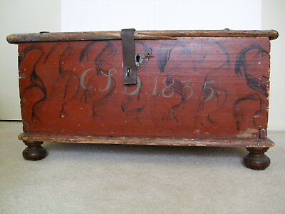 Antique 19Th Century Blanket Chest Dated 1835