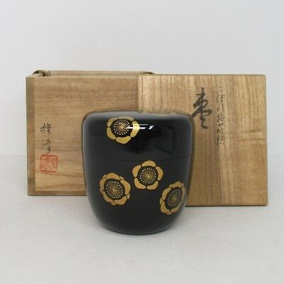 G974 Japanese lacquer ware powdered tea container with good MAKIE of plum flower