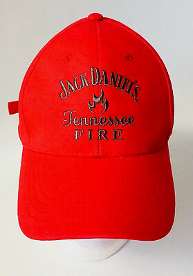 Jack Daniels Baseball Cap Hat Tennessee Fire embroidered Logo Adjustable Red