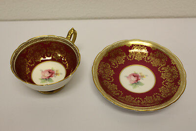 Vintage Burgundy and Gold Paragon Fine Bone China England Cup and Saucer