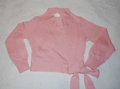 Girl's Eurotard Dancewear Pink Ballet Tie Front Sweater size M Child EUC